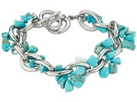 Guess Link Chain With Genuine Turquoise Nugget Toggle Bracelet Silver Turquoise Bracelet Multi