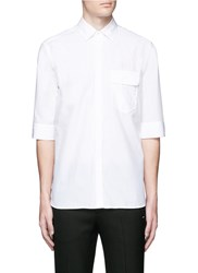 Neil Barrett Three Quarter Sleeve Cotton Poplin Shirt White