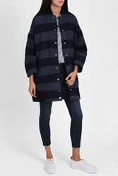 Paul Joe Sister Women S Stripe Cocoon Coat Boutique1 Blue