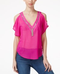 Xoxo Juniors' Embroidered Cold Shoulder Blouse Pink