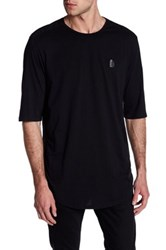 Religion Short Sleeve Embroidered Open Knit Tee Black