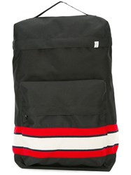 Facetasm Striped Panel Backpack Women Cotton Wool One Size Black