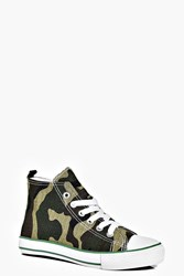 Boohoo Lace Up Camo High Top Trainers Camo