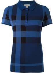 Burberry Checked Polo Shirt Blue