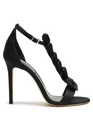 Olgana Paris La Delicate T Bar Satin Sandals Black