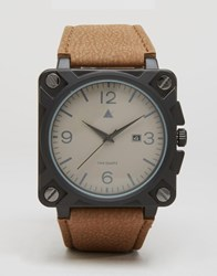 Asos Square Watch With Distressed Finish Brown