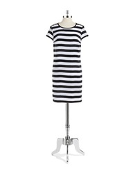 Jones New York Striped Shift Dress Black Combo