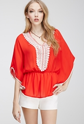 Forever 21 Crochet Peasant Top Red Cream