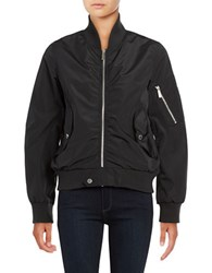 French Connection Zip Front Bomber Jacket Black