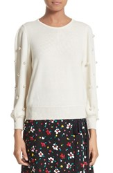 Marc Jacobs Women's Imitation Pearl Embellished Wool And Cashmere Sweater Ivory