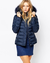 Jack Wills Padded Coat With Faux Fur Trim Hood Navy
