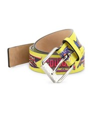 Moschino Printed Logo Be Fantasy Leather Belt Multicolor