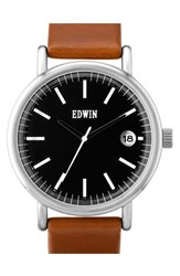 Men's Edwin 'Epic' Leather Strap Watch 42Mm