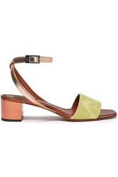 Missoni Woman Metallic Leather And Crochet Knit Sandals Copper