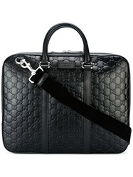 Gucci Signature Leather Briefcase Black