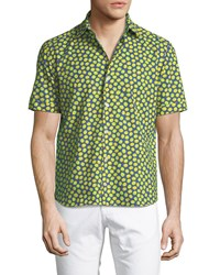 Culturata Lemon Print Cotton Button Down Shirt Yellow