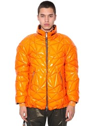 Byblos Plastified Nylon Zip Up Puffer Jacket Orange