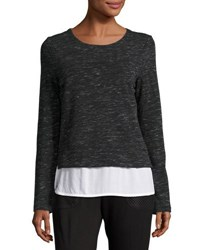 Marc New York Twofer Knit And Georgette Top Black