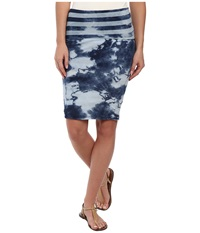 Michael Stars Indigo Wash Reversible Fold Over Skirt Indigo Stripe Women's Skirt Navy