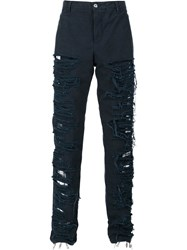Hood By Air Destroyed Effect Trousers Blue