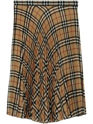 Burberry Vintage Check Chiffon Pleated Skirt Brown