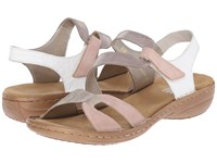 Rieker 60866 Regina 66 Rose Hay Elefant White Women's Sandals Pink