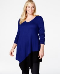 Ny Collection Plus Size Colorblocked Poncho Sweater Blue Black