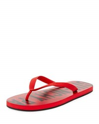 Givenchy Men's Rubber Logo Flip Flop Red Red Black