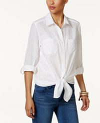 Style And Co Cotton Tie Front Roll Tab Shirt Only At Macy's Bright White