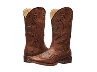 Roper Crystal Cross Square Toe Boot Brown Cowboy Boots