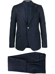 Paoloni Two Piece Striped Suit Blue