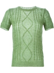 Ermanno Scervino Short Sleeve Cable Knit Sweater Green