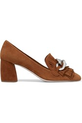 Miu Miu Fringed Suede Pumps Tan