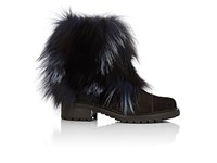 Barneys New York Women's Fur Trimmed Suede Ankle Boots Dark Brown Navy No Color