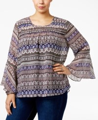 Jessica Simpson Trendy Plus Size Wilma Bell Sleeve Blouse Boho Chic