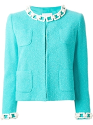 Moschino Cheap And Chic Boucle Chain Collar Jacket Blue