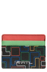 The Rail Jamie Leather Card Case Black Black Green Geo Outlines