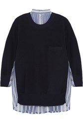 Sacai Cotton And Striped Silk Organza Sweater Midnight Blue