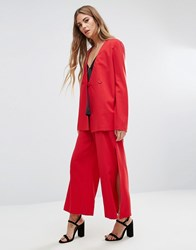 Fashion Union Wide Leg Trouser Co Ord Red