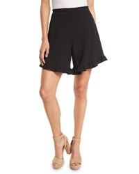 See By Chloe Stretch Crepe High Rise Ruffle Shorts Black