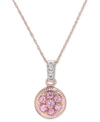 Macy's Pink Sapphire 3 8 Ct. T.W. And Diamond Accent Pendant Necklace In 14K Rose Gold