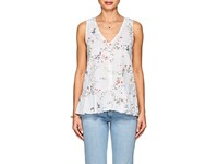 Lilla P Floral Cotton V Neck Blouse Multi