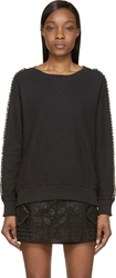 Balmain Black Chain And Leather Trimmed Sweatshirt
