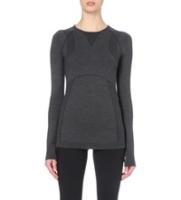 Sweaty Betty Terrain Temperature Regulating Wool Blend Top Slate Grey