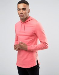 Asos Longline Muscle Zip Up Hoodie With Curved Hem Tea Rose Pink