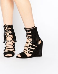 Free People Solstice Black Ghillie Wedge Sandals Black