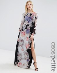 Asos Petite Kaftan Sleeved Maxi Dress In Black Floral Multi