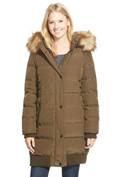 Women's 7 For All Mankind Elongated Down Bomber With Removable Faux Fur Trim Hood