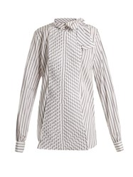J.W.Anderson Pleated Panel Striped Cotton Shirt White Black
