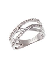 Lord And Taylor Sterling Silver Cubic Zirconia Crossing Band Ring